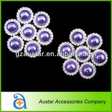 21mm Flat back pearl rhinestone button embellishment headband Accessory