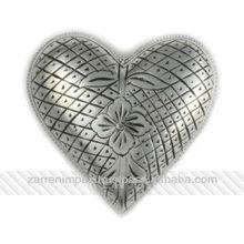 "Silver Antique Engraved 3"" Brass Heart Urn"