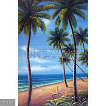 Handmade landscape oil painting on canvas, Beach Palm Trees Hawaii Island Pacific Ocean Painting