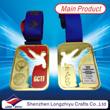 Hongkong gold taekwondo badges medals enamel with clear epoxy custom trophies and medals china olympic gold medals for sale