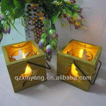 LED Light Glass Candle Holder With Wood Base