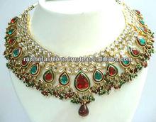 Bollywood diva kundan enamel necklace Choker tikka set