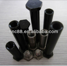 Hex bolts and nuts steel part with black oxidation