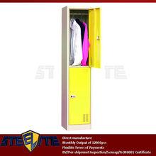 2 door electronic metal locker clothes storage cabinet with code lock/kids bedroom 2 tier corner wardrobe closet cupboard design