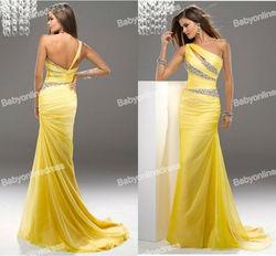 New Design Asymmetrical Rhinestone Sexy Long Dress Evening Gown 2013