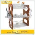 3 tier display wooden dish drainer