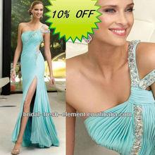 Hot Sale Long Good Quality Chiffon Front Slit Sexy Beaded Mermaid Prom Dress
