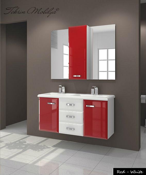 Baños Rojo Con Blanco:Mueble de baño rojo blanco-Otros Muebles Baño-Identificación del