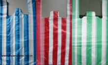 Striped white / red /green/blue candy bags T-shirt HPDE plastic vest carriers 28 14x55mm, 14 mic