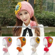 2014 unique design earflap knitted hat girl headwear crochet winter hat