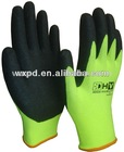 luminous yellow sandy nitrile coated work glove for mining industry gloves