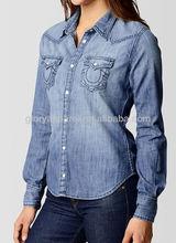 Women denim shirts fitted cheap