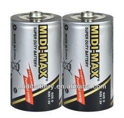 super power PVC jacket R20 D size UM-1 Carbon Zinc battery dry cell