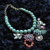 2014 Square Coloful Encrusted Diamond Pearl Pendant Necklace