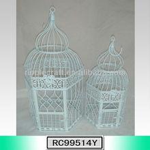 S/2 White Hexagon Small Iron Wholesale Bird Carrier
