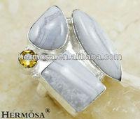 Huge White Jasper Ring Citrine Ring Nature Stone Ring H332