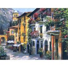 Handmade mediterranean buildings painting italian coast art oils on canvas