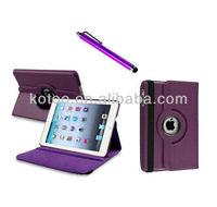 Purple PU leather rotating holder for ipad mini case