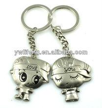 custom lovely metal sweet couple keychain