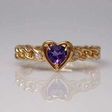 Used Jewelry 18k / Yellow gold / Amethyst / Diamond 0.02ct / ring ( 1003020501b00189 )