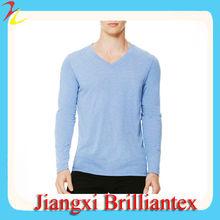 men's plain xxl long sleeve v-neck tee
