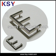 E metal letter logo for purse