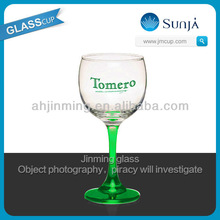 Green long stemmed glass cup small sized red wine cup crystal tomero goblet