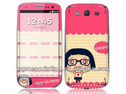 Cute little girl in glasses decorative fashion vinyl custom colorful phone decoration sticker decal skin design for galaxy s4
