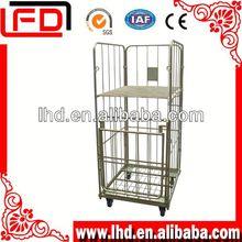 Supermarket Metal Folding Wire storage mesh cage trolley
