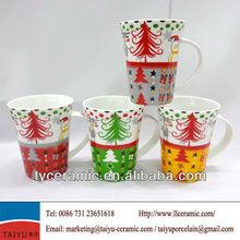 "13OZ promotional new bone china ceramic coffee mug with ""christmas trees""design"