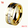 RM173 8mm three stones cubic zirconia titanium band satin silver color strip center gold plated men's wedding ring size 4-16