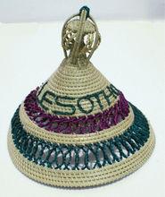 Mokorotlo Lesotho etnic straw hat, African art and crafts, Basotho tribe