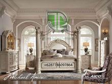 Bed Room Set Pillar Antique White Finish