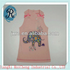 fashion baby girls party wear dress /O-neck lace sleeveless single jersey cotton 180 GRS printing design baby clothing