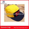 Alta qualidade 5 painel campista cap/chapéus personalizados amarelo tecido de algodão tampa coroa azul marinho e borda plana caps e chapéus impressão do logotipo