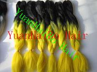 Stocks! factory wholesale cheap price ombre two tone black&yellow super jumbo braid