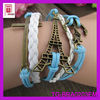 2014 colorful bronze metal charms Cross Anchor Eifel Tower bracelet leather