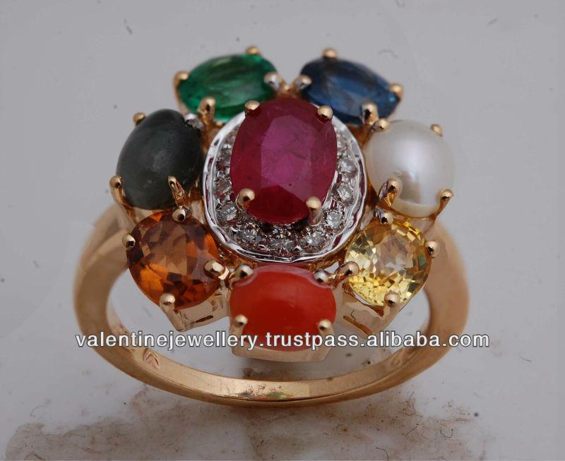 navratna ring in gold 9 precious stones ring jewelry