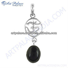 Trendy Charm Black Onyx Gemstone Silver Om Pendant, 925 Sterling Silver Jewelry