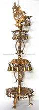 A Grand Decor Standing Big Brass Hand carved Oil lamp/Deepak for decoration