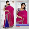 Designer Stone Work Blue Pink Saree Collection