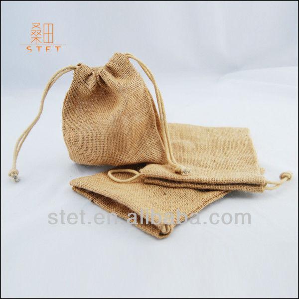 Mini drawstring burlap wedding gift bags
