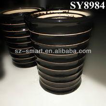 Big ceramic black glazed flower pots
