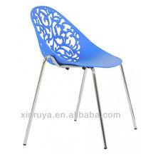 Plastic stackable metal leg chair