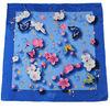 Floral silk square scarf satin plain-screen printed
