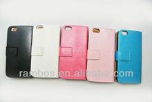 Plain PU Leather Skin Wallet Phone Case for iPhone 5c