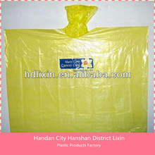Low price high quality PE disposable rain poncho with hood for outdoor use