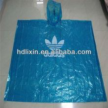 pe blue disposable rain poncho for promtion