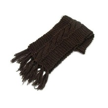 Double knittng Black Wool with tassel Scarf
