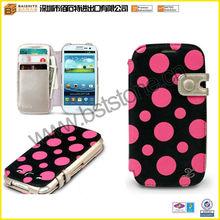 For Galaxy S3 Masstige Polka Dot Leather Wallet Case - Black & Pink -
